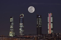 Moon over four towers